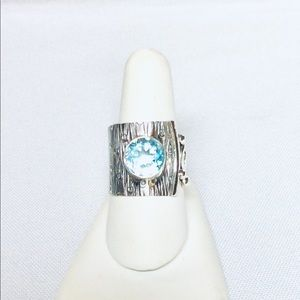 Wide Silver and Blue Topaz Ring